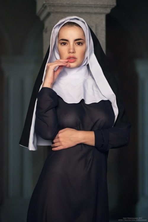 Teen on her knees in dress
