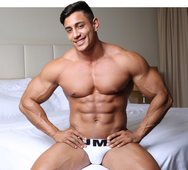 Muscle men in military uniform