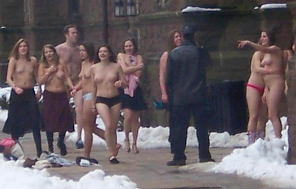 Nude men naked in public